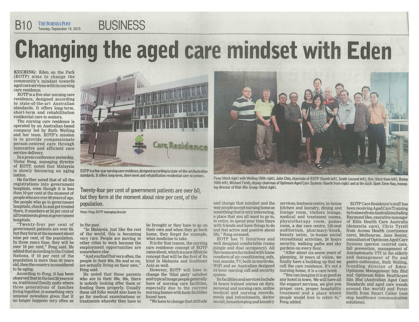 Newspaper Article - Changing the aged care mindset with Eden